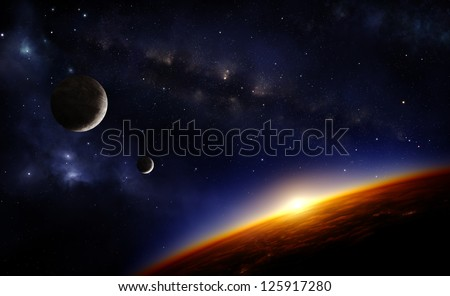Illustration of an alien planet in space with two moons and the sun setting over its horizon - stock photo