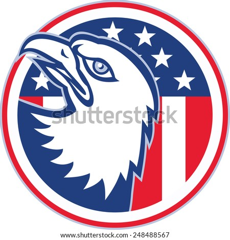 Illustration of an american bald eagle head looking up set inside circle with usa stars stripes flag in the background done in retro style