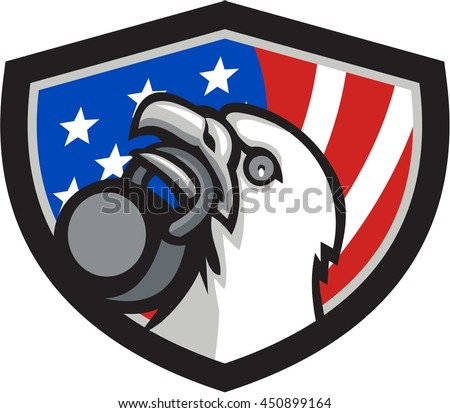 Illustration of an american bald eagle head looking up to the side lifting kettleball with beak set inside shield crest with american usa flag in the background.