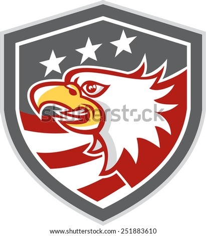 Illustration of an american bald eagle head viewed from the side with american stars and stripes set inside a shield crest done in retro style. - stock photo