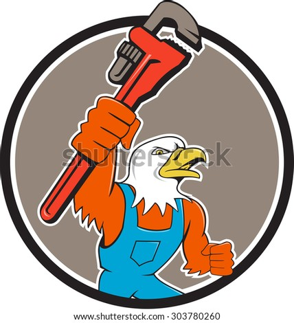 Illustration of an american bald eagle plumber holding monkey wrench looking to the side set inside circle done in cartoon style.