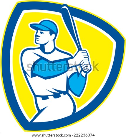 Illustration of an american baseball player batter hitter holding bat set inside shield crest on isolated background done in retro style.