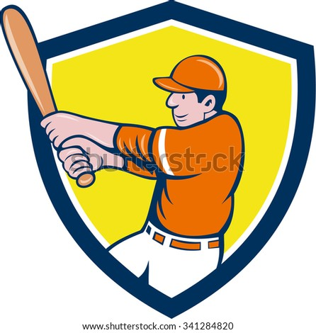 Illustration of an american baseball player batter holding bat batting swinging bat viewed from the side set inside shield crest on isolated background done in cartoon style.  - stock photo