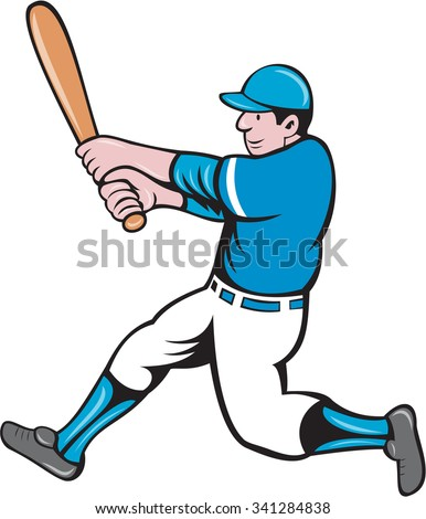 Illustration of an american baseball player batter holding bat batting swinging bat viewed from the side set on isolated white background done in cartoon style.  - stock photo