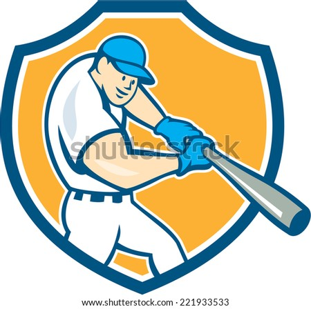 Illustration of an american baseball player batting set inside shield crest on isolated background done in cartoon style.