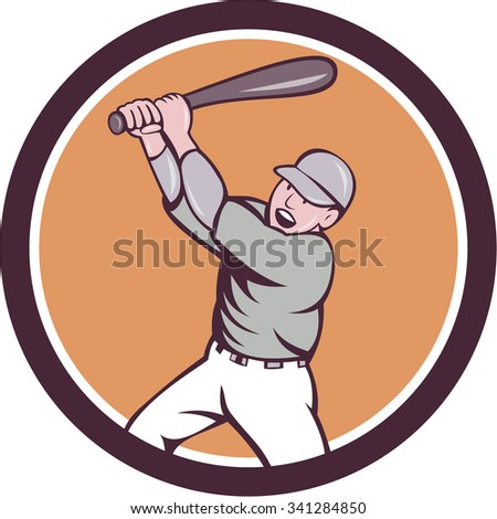 Illustration of an american baseball player holding bat batting homer home run set inside circle on isolated background done in cartoon style.  - stock photo