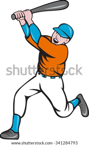 Illustration of an american baseball player holding bat batting homer home run set  on isolated white background done in cartoon style.