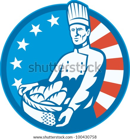 Illustration of an American chef baker cook holding a basket full of bread loaf with stars and stripes flag in background set inside circle done in retro style.