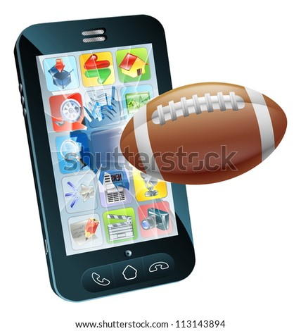 Illustration of an American football ball flying out of cell phone screen - stock photo