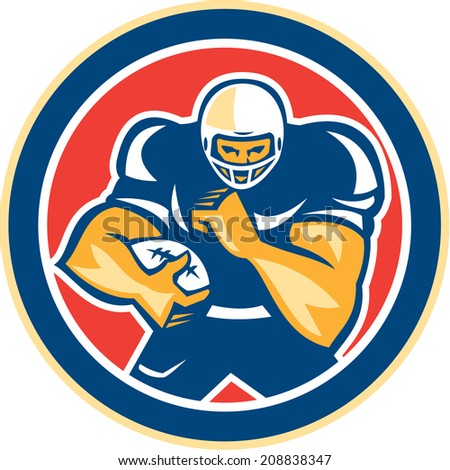 Illustration of an american football gridiron player holding ball fending off defend set inside circle on isolated background done in retro style.