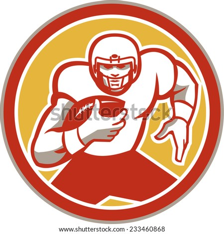 Illustration of an american football gridiron player running back with ball facing front set inside circle done in retro style.
