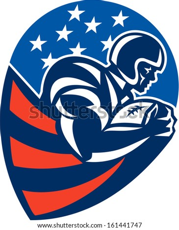 Illustration of an american football gridiron rushing running back player running with ball facing side set inside shield shape done in retro style.
