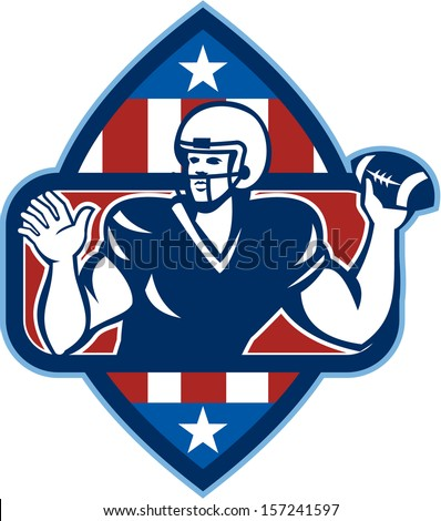 Illustration of an American football quarterback player throwing ball facing side set inside crest shield with stars and stripes flag done in retro style.