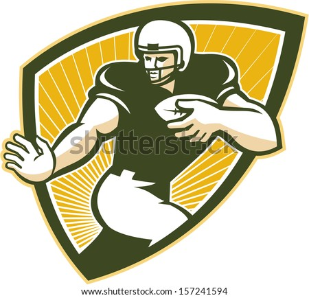 Illustration of an American football running back player running with ball facing front done in retro style set inside shield.
