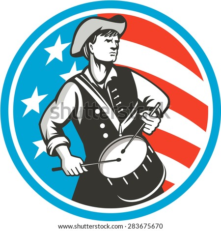 Illustration of an american patriot drummer looking to the side viewed from front, set inside circle with usa stars and stripes flag in the background done in retro style.  - stock photo