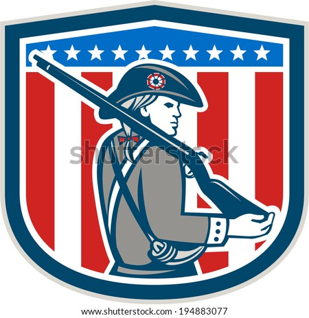 Illustration of an American Patriot minuteman holding a musket rifle facing side set inside crest shield with stars on isolated background done in retro style.