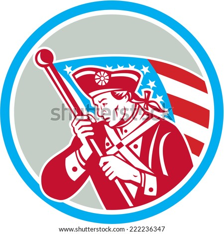 Illustration of an American Patriot revolutionary soldier waving USA stars and stripes flag looking to side set inside circle done in retro style