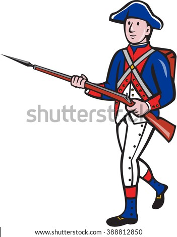 Illustration of an American revolutionary soldier minuteman serviceman military with rifle marching on isolated background done in cartoon style.