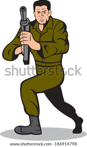 Illustration of an American soldier serviceman aiming a sub-machine gun rifle facing front on isolated white background done in cartoon style. - stock photo