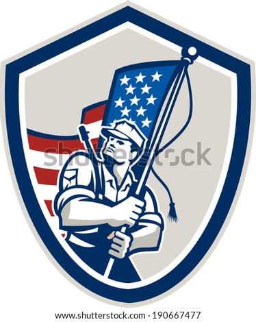 Illustration of an American soldier serviceman waving a USA stars and stripes flag viewed from front set inside shield crest shape done in retro style.