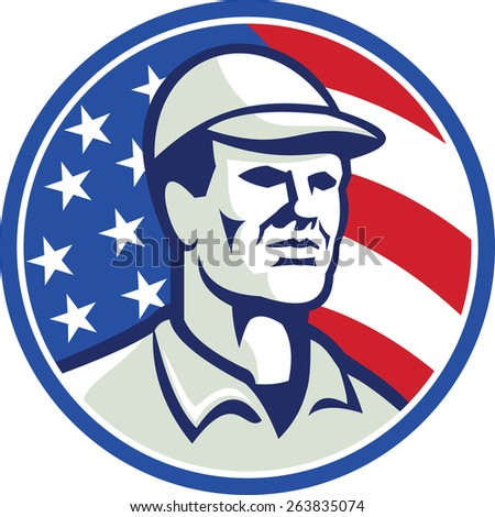 Illustration of an american worker wearing hat cap looking to the side set inside circle with stars and stripes flag in background.