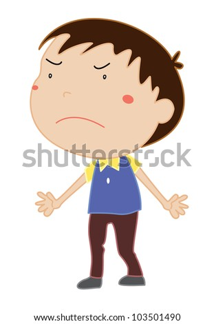 Illustration of an angry boy - EPS VECTOR format also available in my portfolio. - stock photo