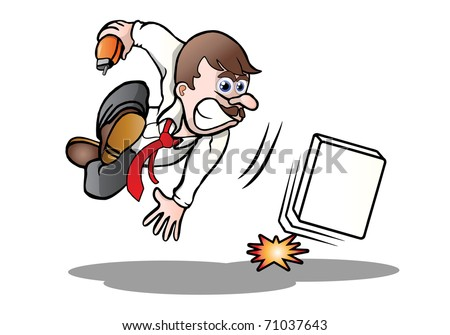 illustration of an angry businessman throw down forcefully an blank box  on city background - stock photo