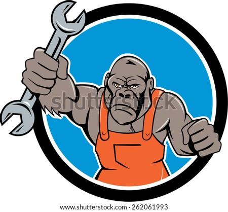 Illustration of an angry gorilla ape mechanic with spanner punching facing front set inside circle on isolated background done in cartoon style.