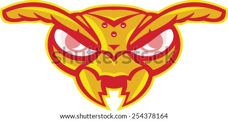 Illustration of an angry hornet wasp ant insect head mascot vespa crabro on isolated white background done in cartoon style. - stock photo