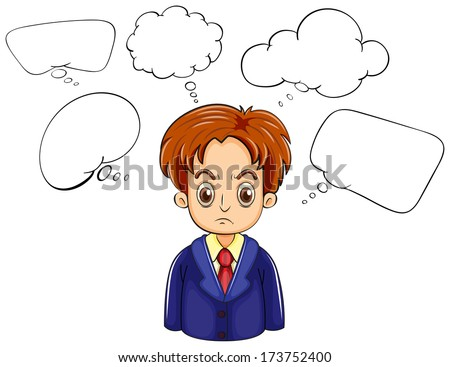 Illustration of an angry man with many callouts on a white background