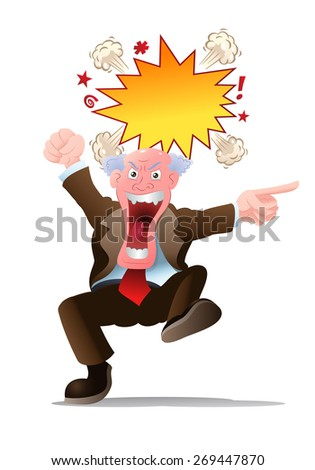 illustration of an angry senior businessman on isolated white background - stock photo