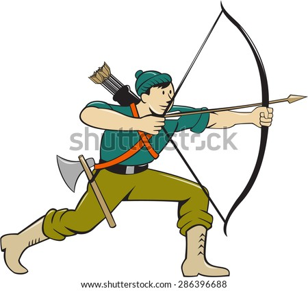 Illustration of an archer aiming with long bow and arrow viewed from side isolated background done in cartoon style.