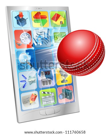 Illustration of an cricket ball flying out of cell phone screen - stock photo