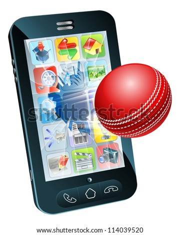 Illustration of an cricket ball flying out of mobile phone screen - stock photo