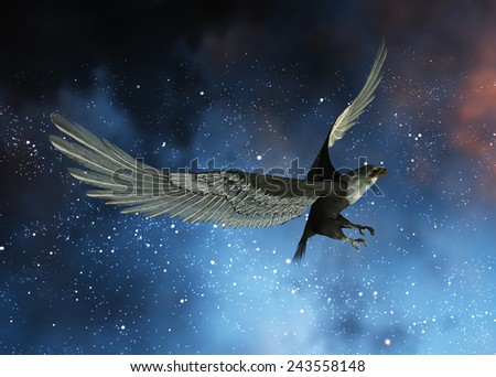 illustration of an eagle flying at night - stock photo