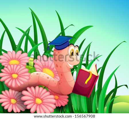 Illustration of an earthworm reading a book at the garden - stock photo