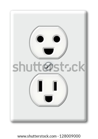 Illustration of an electrical outlet as happy faces. - stock photo
