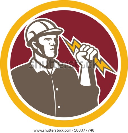 Illustration of an electrician construction lineman worker holding a lightning bolt set inside circle done in retro style on isolated white background. - stock photo