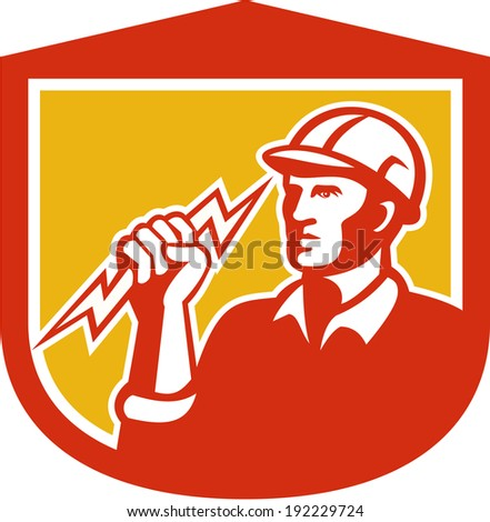 Illustration of an electrician construction worker clutching holding a lightning bolt set inside shield done in retro style on isolated white background. - stock photo
