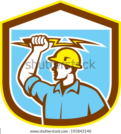 Illustration of an electrician construction worker holding a lightning bolt set inside shield crest done in retro style on isolated background. - stock photo