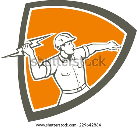 Illustration of an electrician construction worker holding a lightning bolt throwing viewed from the side set inside shield crest done in retro style on isolated background. - stock photo