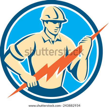 Illustration of an electrician construction worker holding a lightning bolt viewed from the front set inside circle done in retro style on isolated background. - stock photo