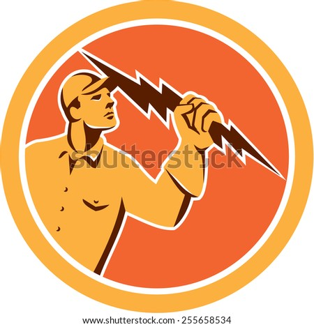 Illustration of an electrician construction worker looking up holding a lightning bolt viewed from the side set inside circle done in retro style on isolated background. - stock photo