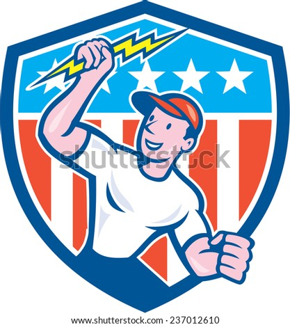 Illustration of an electrician construction worker standing holding a lightning bolt looking to the side set inside circle with stars and stripes in the background done in cartoon style. - stock photo