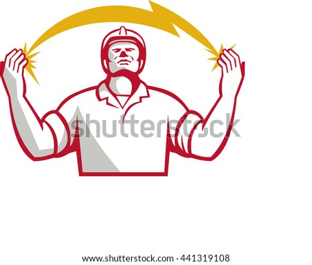 Illustration of an electrician looking up and hands raised with lightning bolt struck in both hands viewed from the front set on isolated white background done in retro style.  - stock photo