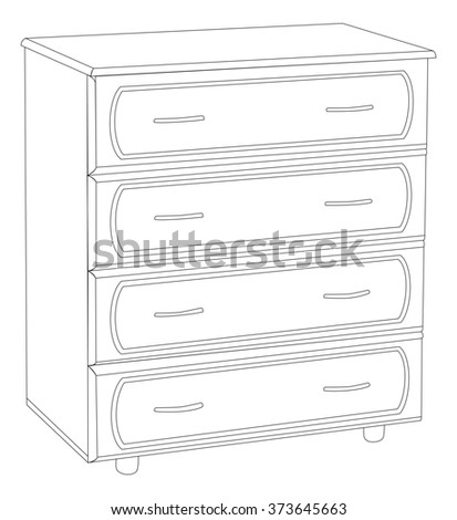 Illustration of an elegant wooden chest of drawers