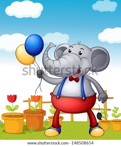 Illustration of an elephant holding balloons with pots of flower at the back