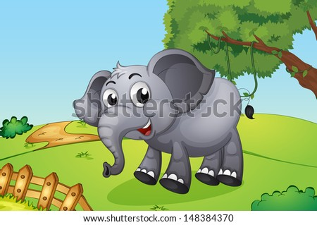 Illustration of an elephant jumping inside the wooden fence