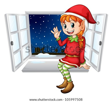 Illustration of an elf in a window - stock photo