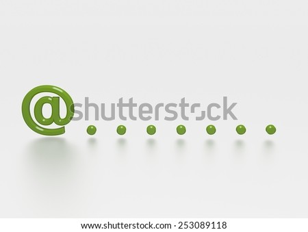 Illustration of an email symbol with dots - stock photo